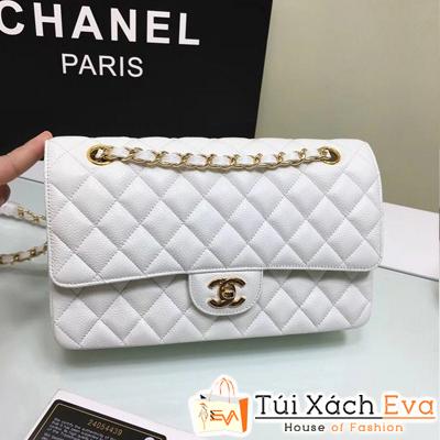 Túi Xách Chanel Classic Siêu Cấp Màu Trắng Da Hạt