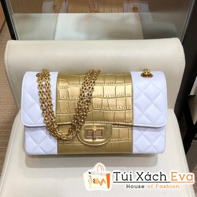Túi Xách Chanel Classic Siêu Cấp Màu Trắng Vàng