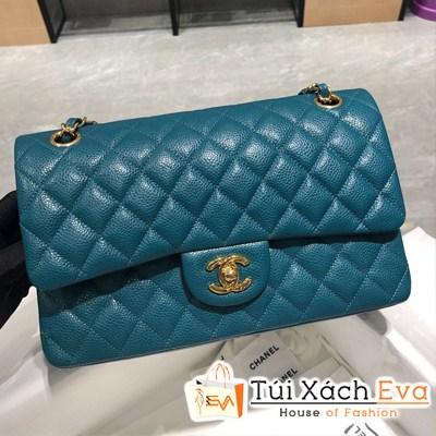 Túi Xách Chanel Classic Siêu Cấp Màu Xanh 25Ccm