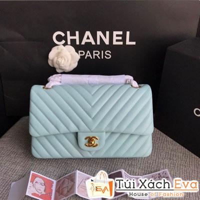 Túi Xách Chanel Classic Siêu Cấp Màu Xanh Dương Nhạt Khóa Vàng Da Lì