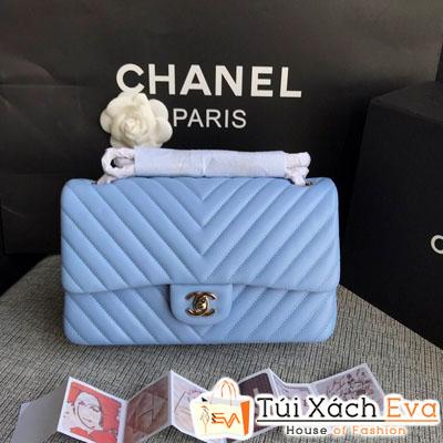 Túi Xách Chanel Classic Siêu Cấp Màu Xanh Dương  Nhũ Khóa Vàng  Da Lì
