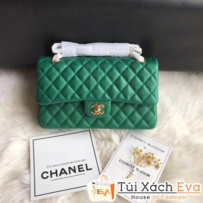 Túi Xách Chanel Classic Siêu Cấp Màu Xanh Lá Da Hạt Khóa Vàng