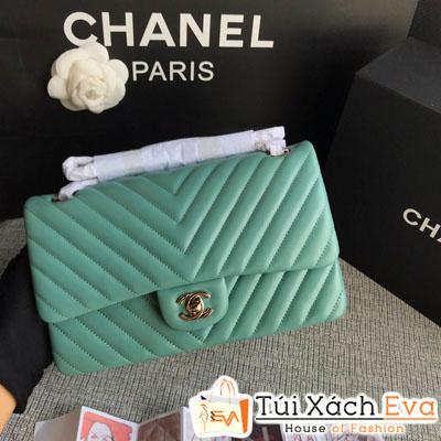Túi Xách Chanel Classic Siêu Cấp Màu Xanh Ngọc Nhũ Khóa Vàng  Da Lì