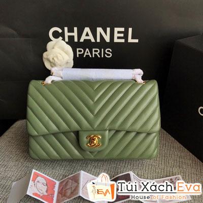 Túi Xách Chanel Classic Siêu Cấp Màu Xanh Rêu Nhũ Khóa Vàng  Da Lì