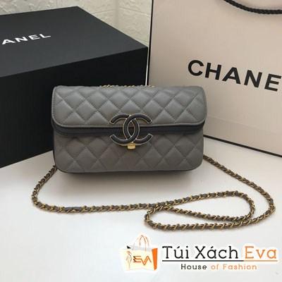 Túi Xách Chanel Classic Siêu Cấp Nắp Gập Logo Màu Xám
