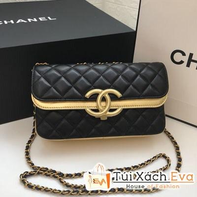 Túi Xách Chanel Classic Siêu Cấp Nắp Gập Logo Viên Vàng