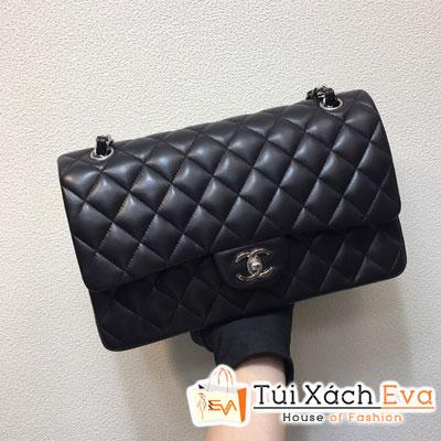 Túi Xách Chanel Classic Siêu Vip Da Lì Khóa Bạc Màu Đen