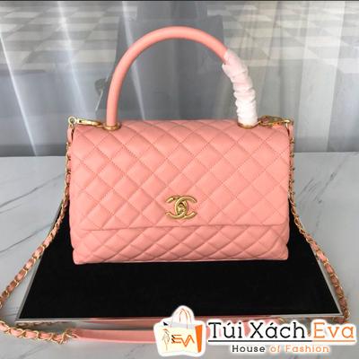 Túi Xách Chanel Coco Handle Siêu Cấp Da Hạt Khóa Vàng Màu Hồng