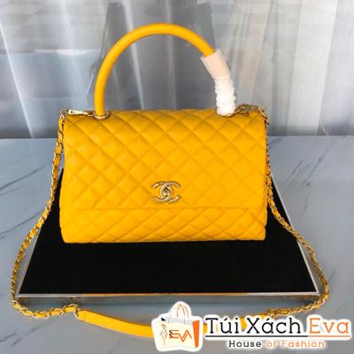 Túi Xách Chanel Coco Handle Siêu Cấp Da Hạt Khóa Vàng Màu Vàng