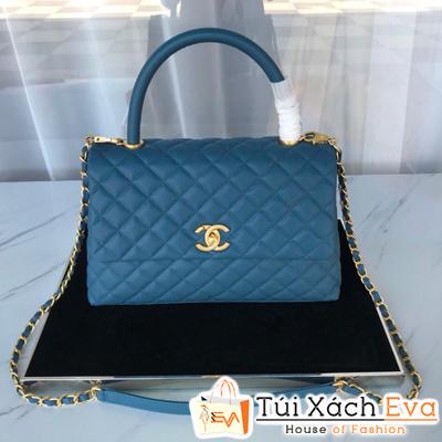Túi Xách Chanel Coco Handle Siêu Cấp Da Hạt Khóa Vàng Màu Xanh Dương