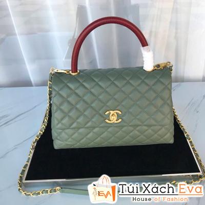 Túi Xách Chanel Coco Handle Siêu Cấp Da Hạt Khóa Vàng Màu Xanh Rêu