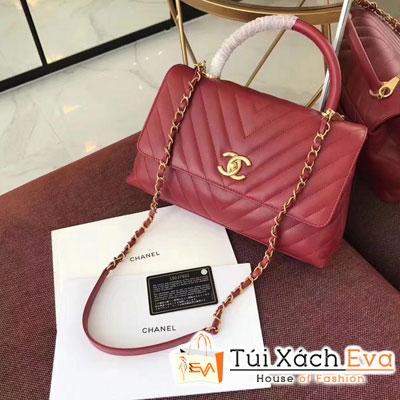 Túi Xách Chanel Coco Handle Siêu Cấp Màu Đỏ Đậm