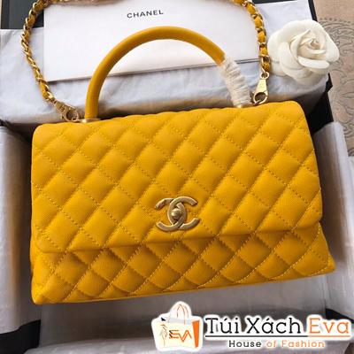 Túi Xách Chanel Coco Siêu Cấp Da Hạt Khóa Vàng Màu Vàng