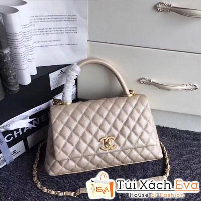 Túi Xách Chanel Coco Siêu Cấp Da Hạt Khóa Vàng Màu Vàng Gold