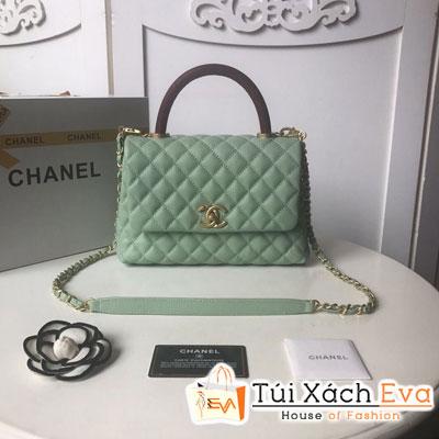 Túi Xách Chanel Coco Siêu Cấp Da Hạt Khóa Vàng Màu Xanh Ngọc