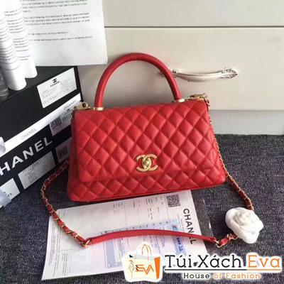 Túi Xách Chanel Coco Siêu Cấp Da Hạt Màu Đỏ Khóa Vàng Màu Vàng Gold