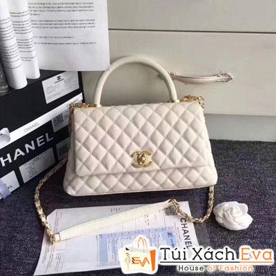 Túi Xách Chanel Coco Siêu Cấp Da Hạt Màu Trang Khóa Vàng Màu Vàng Gold