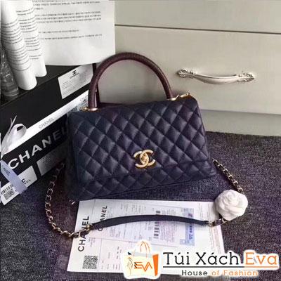 Túi Xách Chanel Coco Siêu Cấp Da Hạt Màu Xanh Đen Khóa Vàng Màu Vàng Gold
