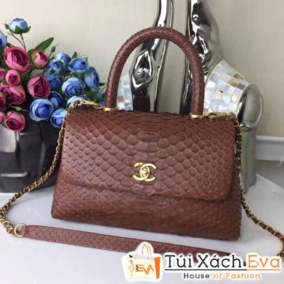 Túi Xách Chanel Coco Siêu Cấp Da Rắn Màu Nâu