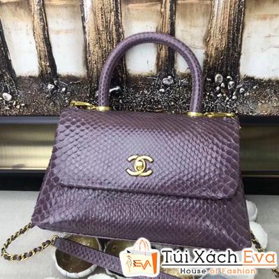 Túi Xách Chanel Coco Siêu Cấp Da Rắn Màu Nâu Pha Màu Tím
