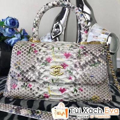 Túi Xách Chanel Coco Siêu Cấp Da Rắn Màu Nâu Pha Màu Trắng