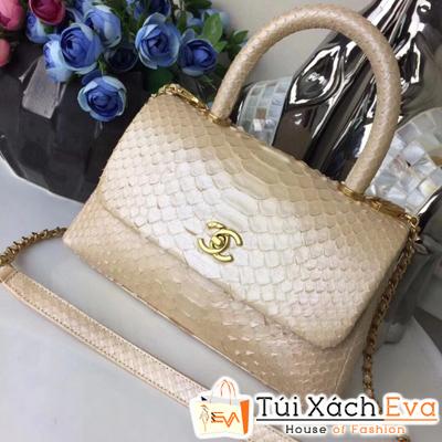 Túi Xách Chanel Coco Siêu Cấp Da Rắn Màu Nâu Pha Màu Trắng Kem