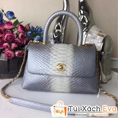 Túi Xách Chanel Coco Siêu Cấp Da Rắn Màu Nâu Pha Màu Xám Pha Trắng