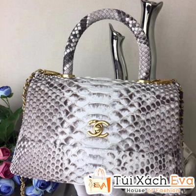 Túi Xách Chanel Coco Siêu Cấp Da Rắn Màu Xám Pha Trắng