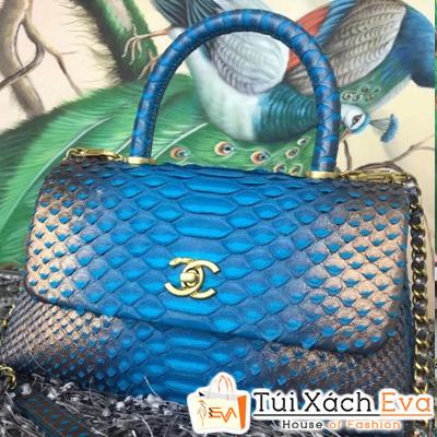 Túi Xách Chanel Coco Siêu Cấp Da Rắn Màu Xanh Dương Pha Xám