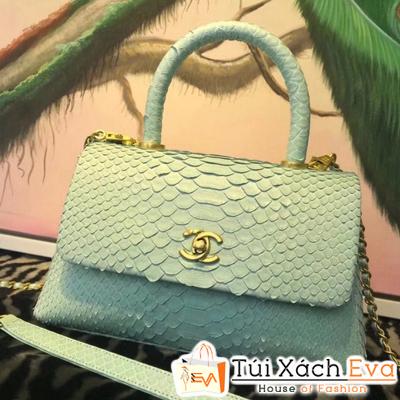Túi Xách Chanel Coco Siêu Cấp Da Rắn Màu Xanh Lá Nhạt