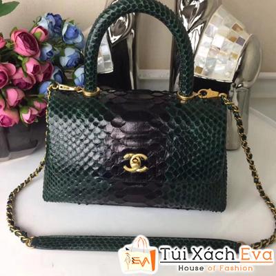 Túi Xách Chanel Coco Siêu Cấp Da Rắn Màu Xanh  Rêu