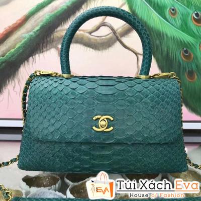 Túi Xách Chanel Coco Siêu Cấp Da Rắn Màu Xanh Ve Chai