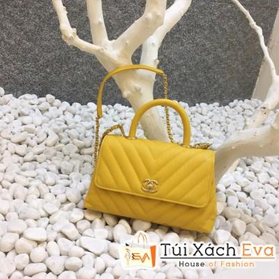 Túi Xách Chanel Coco Siêu Cấp Sọc V Màu Vàng