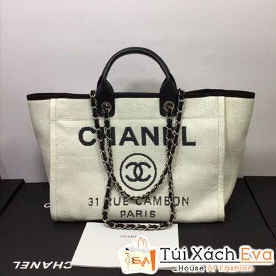 Túi Xách Chanel Đi BIển Siêu Cấp Logo Lớn Màu Trắng  Đẹp