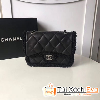 Túi Xách Chanel Flap Bag Shearling Lambskin & Silver-Tone Metal Siêu Cấp Màu Đen 3458