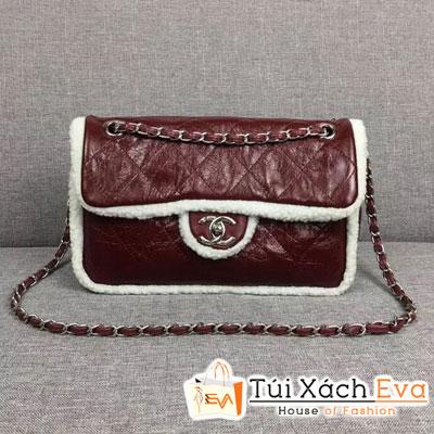 Túi Xách Chanel Flap Bag Shearling Siêu Cấp Màu Đỏ