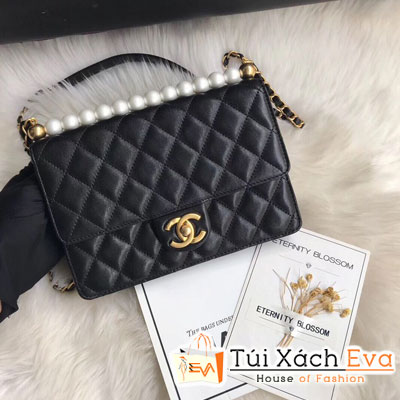 Túi Xách Chanel Flap Bag Siêu Cấp Dây Ngọc Trai Màu Đen