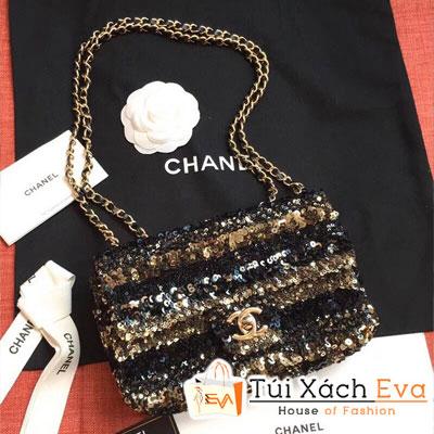 Túi Xách Chanel Flap Bag Siêu Cấp Kim Sa Màu Đen Vàng AS0195