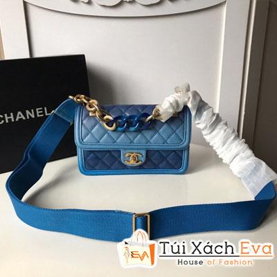 Túi Xách Chanel Flap Bag Siêu Cấp Màu Xanh Dương  Xích To