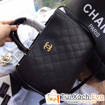 Túi Xách  Chanel Hampton Da Hạt Siêu Cấp Màu Đen Khóa Vàng