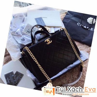 Túi Xách Chanel Hampton Đen Lì Khóa Vàng Đẹp