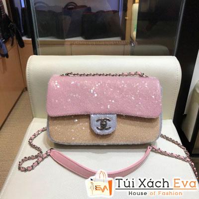 Túi Xách Chanel Hạt Siêu Cấp Màu Hồng Khóa Bạc