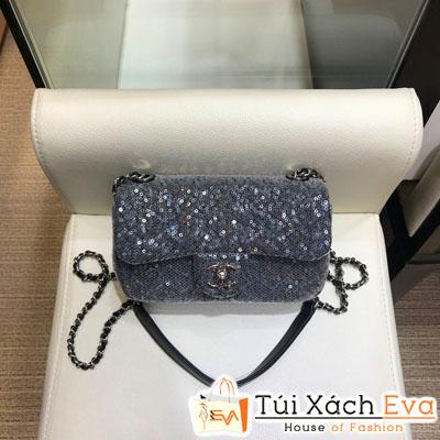 Túi Xách Chanel Hạt Siêu Cấp Màu Xám Khóa Bạc