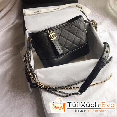 Túi Xách Chanel Hobo Siêu Cấp Màu Đen Da Nhăn