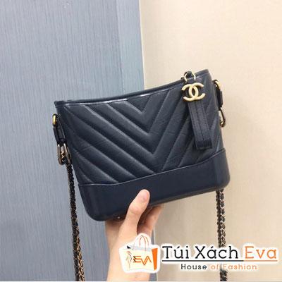 Túi Xách Chanel Hobo Siêu Cấp Màu Xanh Dương Đậm  Vân V