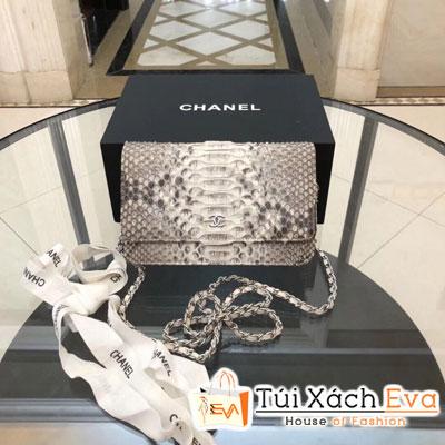 Túi Xách Chanel Katun Siêu Cấp Da Rắn Màu Xám