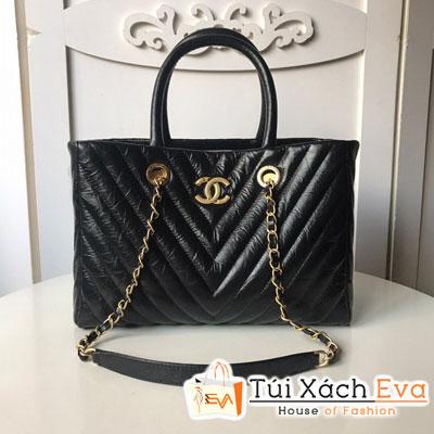 Túi Xách Chanel Large Shopping Bag Siêu Cấp Sọc V Da Nhăn Màu Đen A5797
