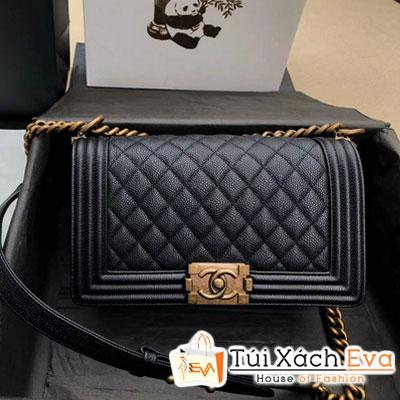 Túi Xách Chanel Leboy Flap Siêu Cấp Màu Đen Da Hạt Khóa Vàng