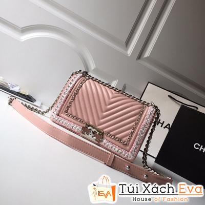Túi Xách Chanel Leboy Siêu Cấp Da Lì Khóa Bạc Màu Hồng
