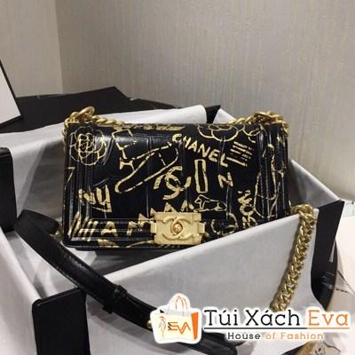 Túi Xách Chanel Leboy Siêu Cấp Màu Đen Hoa Vàng